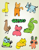 Funny animal set. Isolated colorful cute animal drawings Stock Image