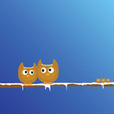 Funny animal on the snow branch art vector Stock Images
