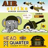 Battlefield cartoon vector. Funny animal soldier on battlefield, vector cartoon illustration. EPS 10 Stock Image