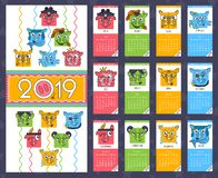 Funny animal, stylized monthly calendar with pigs, the year of the pig monthly cards templates. сhinese horoscope icon in. Funny animal, stylized monthly 2019 royalty free illustration
