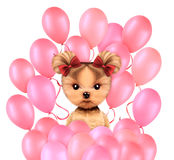 Funny animal surrounded by ballloons. And keep a balloon isolated on white background. Birthday and party concept. Realistic 3D illustration Stock Photos
