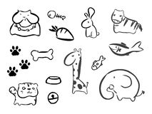 Funny Animal Vector illustration Icon. Set Royalty Free Stock Images