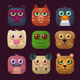 Funny Animal Vector Illustration Icon Set Stock Photo