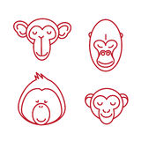 Funny Animal Vector illustration Icon Set Royalty Free Stock Photos