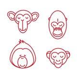 Funny Animal Vector illustration Icon Set Royalty Free Stock Photos