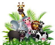 Funny animal wildlife cartoon collection Royalty Free Stock Images