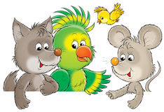 Funny animals. Isolated clip-art and children's illustration for yours design, postcard, album, cover, scrapbook, etc Royalty Free Stock Image