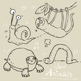 Funny animals. Slow animals, funny vector contour drawing, kids wallpaper pattern Stock Photo