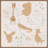 Funny animals alphabet for kids. G to K Royalty Free Stock Photo