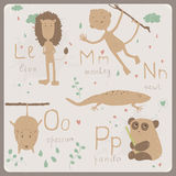 Funny animals alphabet for kids. L to P Stock Photo