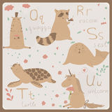 Funny animals alphabet for kids.Q to U. Royalty Free Stock Image