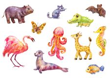 Funny animals, big watercolor set. Cute wild characters suitable for prints on children`s goods or for kids magazine. Cute cartoon animals. Watercolor set of stock photography