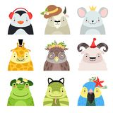 Funny animals and birds different hats set, penguin, cow, mouse, giraffe, owl, sheep, frog, snake, parrot, cute cartoon vector illustration