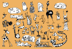 Funny animals. Black and white drawing funny animals Royalty Free Stock Images
