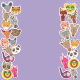 Funny Animals card template. lilac background, template for your design. Vector Royalty Free Stock Photos
