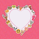 Funny Animals card template. White heart on pink Polka dot background. Vector Stock Photo
