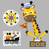 Funny animals cartoon with gunboat toys. Cute giraffe the funny navy army. Vector cartoon illustration, no mesh, vector on eps 10 Royalty Free Stock Photography