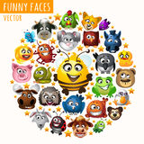 Funny animals in the circle Stock Images