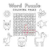 Funny Animals Coloring Book Word Puzzle Stock Photos