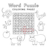Funny Animals Coloring Book Word Puzzle Royalty Free Stock Image