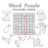 Funny Animals Coloring Book Word Puzzle Stock Image