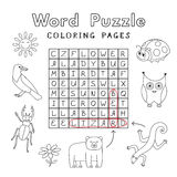 Funny Animals Coloring Book Word Puzzle Royalty Free Stock Images