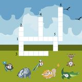 Funny animals crossword for kids. Vector design Stock Images