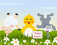Funny Animals & Easter Eggs in a Meadow Stock Photo