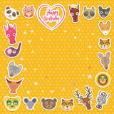 Funny Animals Happy birthday. orange Polka dot background. Vector Royalty Free Stock Image
