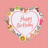 Funny Animals Happy birthday. White heart on pink Polka dot background. Vector Stock Photography