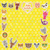 Funny Animals Happy birthday. Yellow Polka dot background. Vector Royalty Free Stock Image