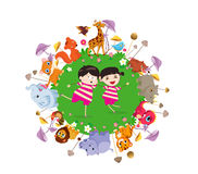 Funny animals and happy kids. Funny animals and happy kids on the ground round. Bright background in a cute and cartoon style Royalty Free Stock Photo