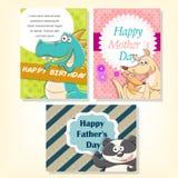 Funny animals holiday celebration cards set Stock Image