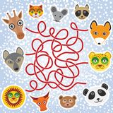 Funny animals - labyrinth game for Preschool Children. Vector Stock Images