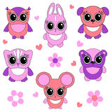 Funny animals. Funny little animals cartoon set Stock Photos