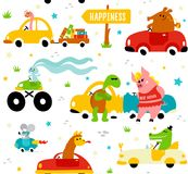 Cute funny animals llama, crocodile, bookworm, rabbit, mouse, turtle and pig driving colorful cars to the happiness on. Funny animals-llama, crocodile, bookworm stock illustration