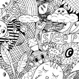 Funny monsters pattern for coloring book.Black and white background. Vector illustration. Funny animals and monsters dream and sleep for the children`s coloring Royalty Free Stock Photography