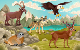 Funny animals in a mountain landscape Royalty Free Stock Images