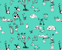 Funny animals. Seamless pattern funny black and white animals Royalty Free Stock Image