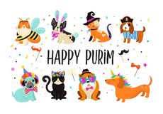 Funny animals, pets. Cute dogs and cats with a colorful carnival costumes, vector illustration. Happy Purim banner. Funny animals, pets. Cute dogs and cats with stock illustration