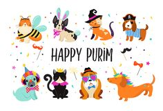 Funny animals, pets. Cute dogs and cats with a colorful carnival costumes, vector illustration, Happy Purim banner. Template vector illustration