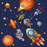 Funny animals , planets and spaceshipsin space. Funny bunny and teddy bear in space Royalty Free Stock Photos