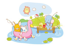 Funny animals playing in the river Royalty Free Stock Photo