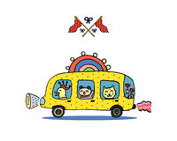 Funny Animals in A Rainbow School Bus and Crossed Flags. Royalty Free Stock Images