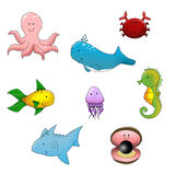 Funny animals sea life. A set of funny colorful sea life animals Stock Images