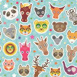 Funny Animals seamless pattern on light blue Polka dot background. lion, kangaroo, horse, bear, mouse, raccoon, deer, owl, jaguar, Stock Images