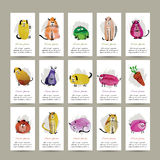 Funny animals, set of cards. Watercolor sketch for Stock Photo