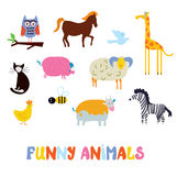 Funny animals set - simple design Stock Images