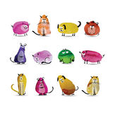 Funny animals set. Watercolor sketch for your Royalty Free Stock Photos