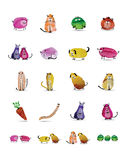 Funny animals set. Watercolor sketch for your Royalty Free Stock Photography